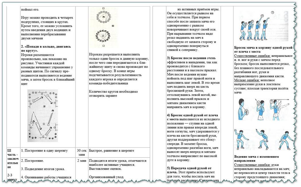 Конспект урока по физкультуре 6 класс