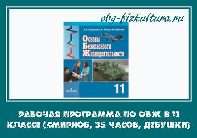 Рабочая программа по ОБЖ в 11 классе (Смирнов, 35 часов, девушки)
