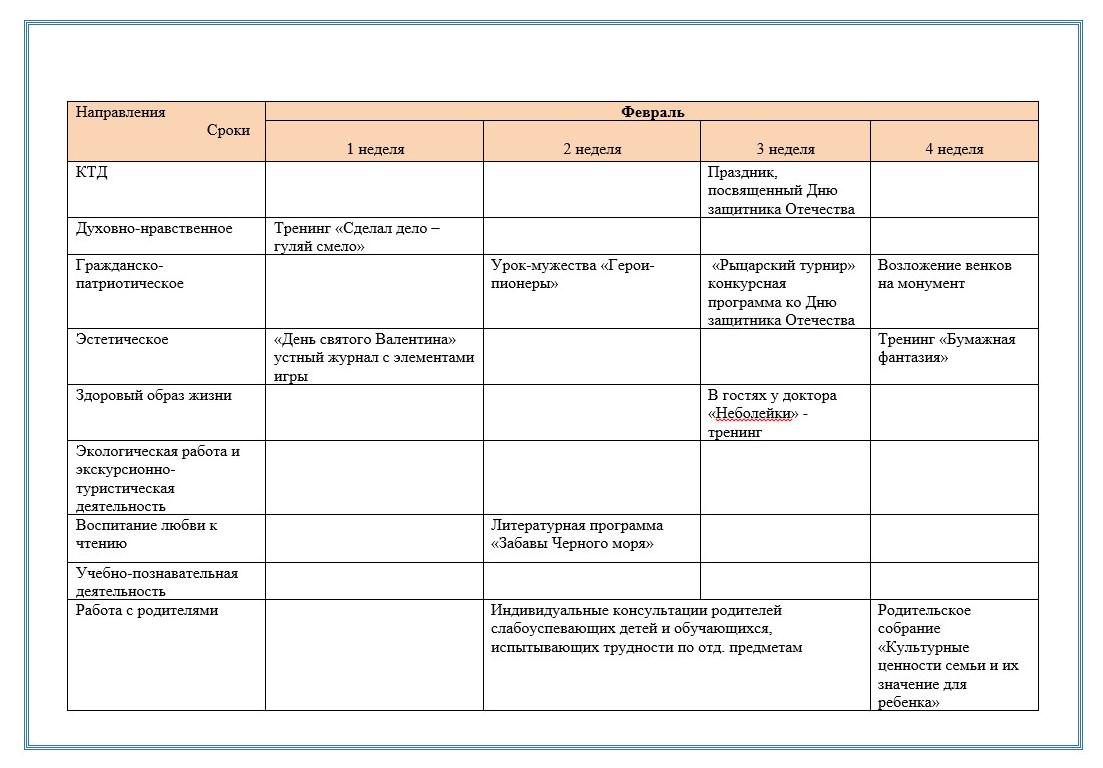 план учебно-воспитательной работы на год: