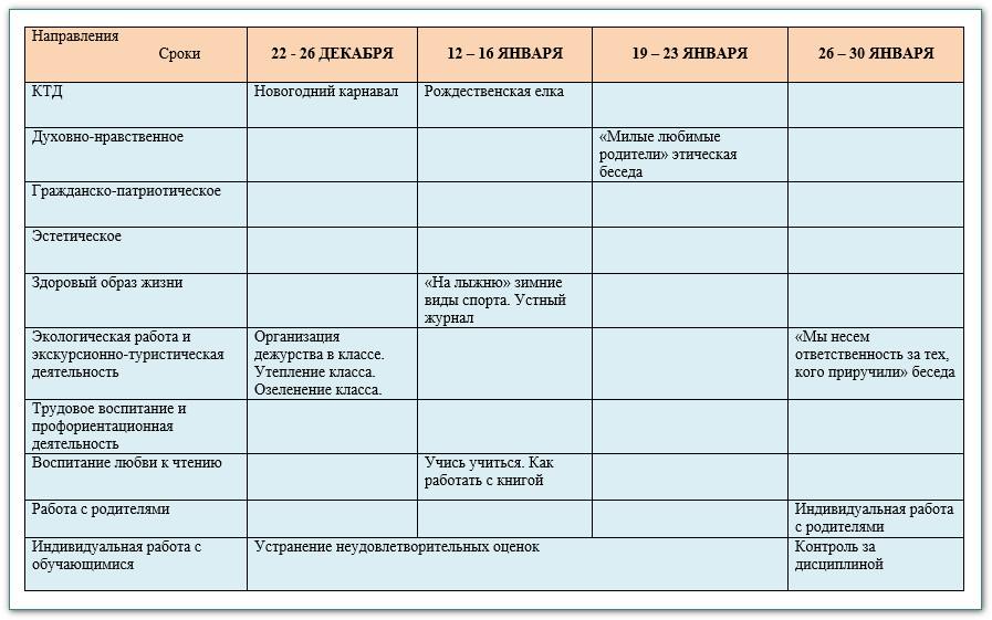 план воспитатеьной работы в 6 классе на 2014-2015 уч.год 5