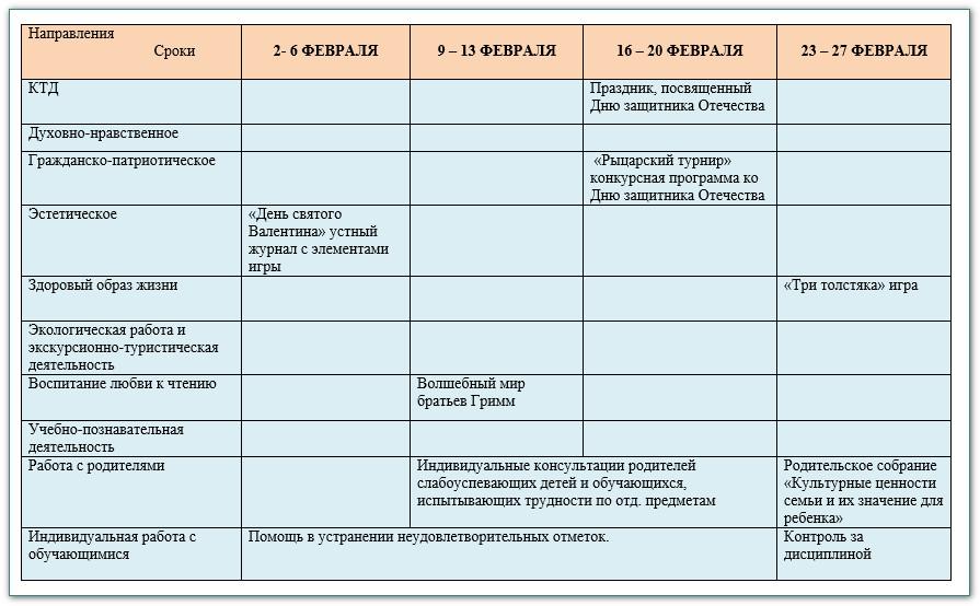 план воспитатеьной работы в 6 классе на 2014-2015 уч.год 6