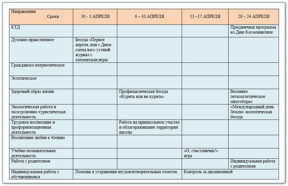 план воспитатеьной работы в 6 классе на 2014-2015 уч.год 8