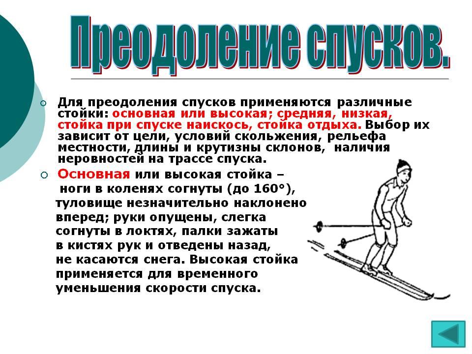 Преодоление спусков на лыжах